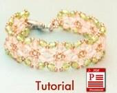 Tutorial. Flowers of Spring DIY Beading bracelet PDF pattern. Beadweaving with Czech fire polished beads.