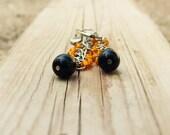Black orange cluster drop dangle earrings. Rustic beaded jewelry. Nature inspired