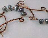 Copper and Labradorite Chandelier Earrings, Chandelier Earrings