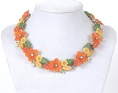 Vintage Orange and Yellow Lucite Flowers and Rhinestones Choker Style Necklace