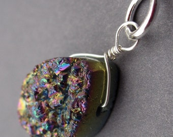 Crystal Drusy Druzy Quartz Titanium Coated Peacock Gemstone Sterling Silver Wire Wrapped Pendant Charm with Sterling Silver Jump Ring