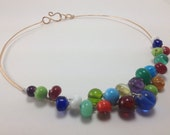 Reserved for Holli - Chunky, funky, beaded brass choker