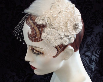 1920's Flapper Headpiece, Wedding Flapper Style Ivory Feather Fascinator, Art Deco Lace Headpiece, Veil, Russian Netting Veil, Retro Wedding