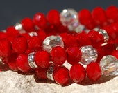 Cherry Quartz Three Strand Bracelet and Earrings..................item number 5316