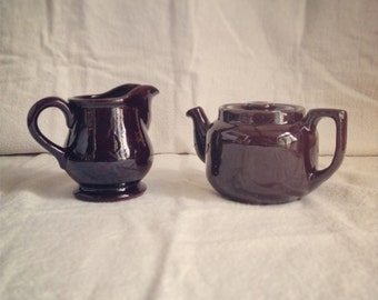 SALE Vintage Ceramic Small Brown Teapot and Creamer / Pitcher, Made in Canada, Single Serving Tea Pot