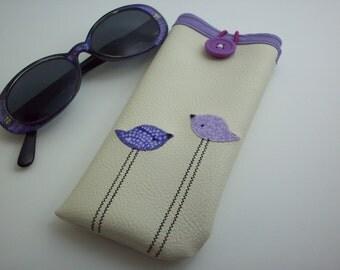 Sunglass case women's eyeglass case cream color with purple birds