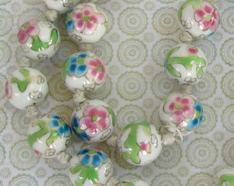 Vintage Hand Painted Porcelain Bead Necklace