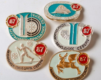 Set of 5 vintage pins, Murmansk Festival of the north, Pins from USSR, Soviet Union