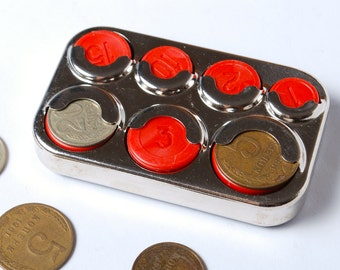 Vintage metal coin holder from Soviet Union, USSR