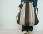Striped Canvas Tote Bag, Real Leather Handles