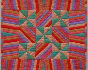 Stripes and Pinwheels Silk Miniaure Quilt