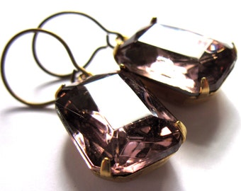 Amethyst Glass Claw Set Earrings Vintage Style Evening Jewelry