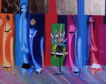 Original Painting Canvas - Acrylic on canvas - art - multicoloured painting - abstract art - pink - rainbow - green - yellow  - light blue