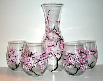 Hand Painted Wine Carafe Set  Spring Wedding Cherry Blossoms  Painted  Stemless Wine Glasses & Carafe  Decanter--5 Piece  Wedding Collection