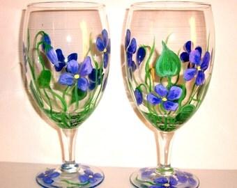 Purple Violets Hand Painted Tea Glasses Set of Two 16 oz. Handpainted Tea Glasses Hand Painted Glasses