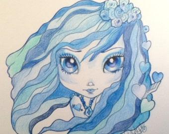 Girl In Blue Big Eye Art Print Blues Tattoo Fantasy Art 8.5 x 11