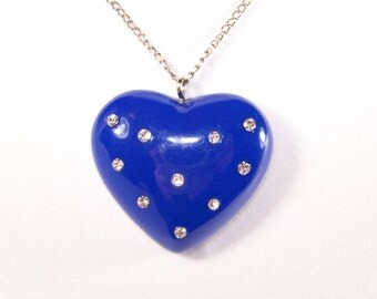 SALE // VINTAGE Rhinestone Chunky Heart Necklace in Dark Blue and Silver