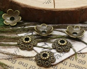 50 pcs of Antique Brass flower metal bead cups 11mm,extrude bead caps findings beads