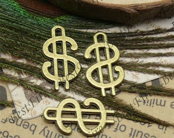 40pcs of Antique brass lovely Money Symbol Charms Pendant ,jewelry finding 12x21mm