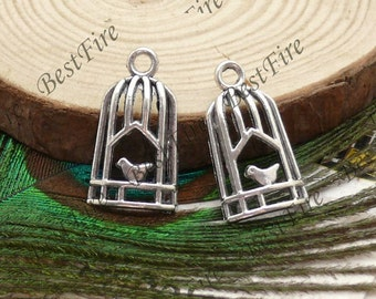 12pcs of Antiqued silver lovely metal birdcage pendant charm pendant 13x25mm