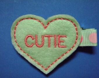 Valentine Felt Hair Clip Clippie - Cutie Heart  - For Infant Toddler Girl
