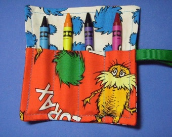 Mini Crayon Roll Up Keeper 4-Count Holder Party Favor - Lorax fabric