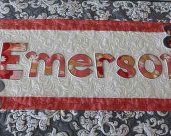 Customized Choose Your Own Word Whimsical Word Wall Hanging Quilted Personalized WORD, Perfect for Baby Shower