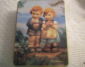 Vintage Hummel Collector Tin Navy Blue Gold Boy Girl Germany