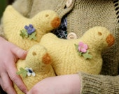 Wool chick - natural toy - yellow with PINK felt flower