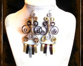 truffle tri-tone chandelier earrings