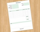 Business Invoice, Choose from 8 colors, printable