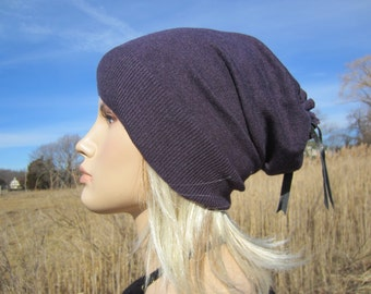 Women's Purple Hat Slouchy Beanie Cotton Tam Cool Hats! A1526
