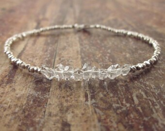 Herkimer Diamond Bracelet April Birthstone Bracelet Herkimer Diamond Bracelets Womens Gift Quartz Beaded Bracelets Raw Crystal Bead Bracelet
