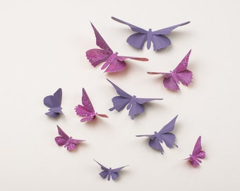 3D Wall Butterflies: Butterfly Wall Art for Nursery, Girl's Room, or Home Decor in Lavender & Grape Dots