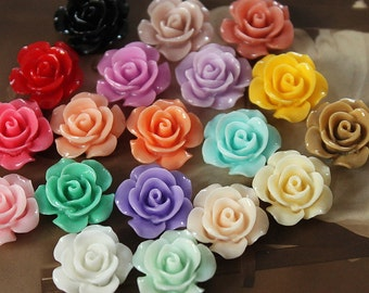 10pcs Beautiful Mix Colorful Rose Flower Resin Cabochon --15mm(CAB-DI-MIXSS)