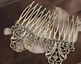 50Pcs New Color Wholesale Antique bronze plated Brass Filigree hair comb Setting NICKEL FREE(COMBSS-15)