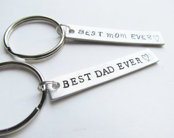 SET of 2 Key Chains Best MOM and Best Dad Ever Hand Stamped Aluminum Metal Keychain Key Ring Mothers Day Fathers Day Gifts