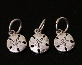 Sand Dollar Charms, sterling silver, 3 charms, 7mm
