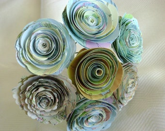 "vintage atlas map spiral 1.5""-1.75"" rolled rose paper flower bouquet for weddings and vases"