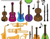 Musical Instrument Clipart Clip Art, Music Clip Art Clipart - Commercial and Personal