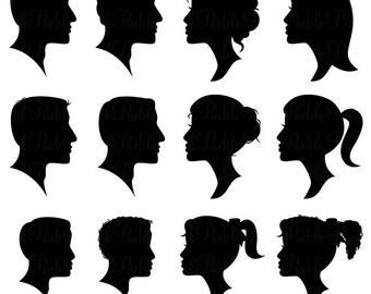Cameo Silhouettes Clipart Clip Art, Profile Silhouettes Clipart Clip Art - Commercial and Personal