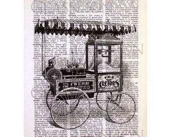 Popcorn & Nuts Cart on an Antique Book Page