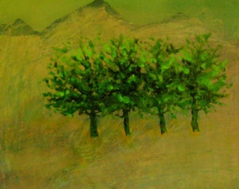 Stand Of Trees / Landscape Oil Painting on Canvas