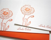 Personalized Letterpress Stationery Poppies Orange Tangerine with Script Font