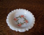 Pretty Vintage Milk Glass Hand Painted Bowl Dish