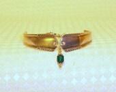 May Emerald Birthstone Silver Spoon Bracelet FREE SHIPPING