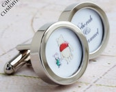 Winnie the Pooh and Piglet Cufflinks with Names of the Bride and Groom - Custom Wedding Cufflinks for the Groom PC576