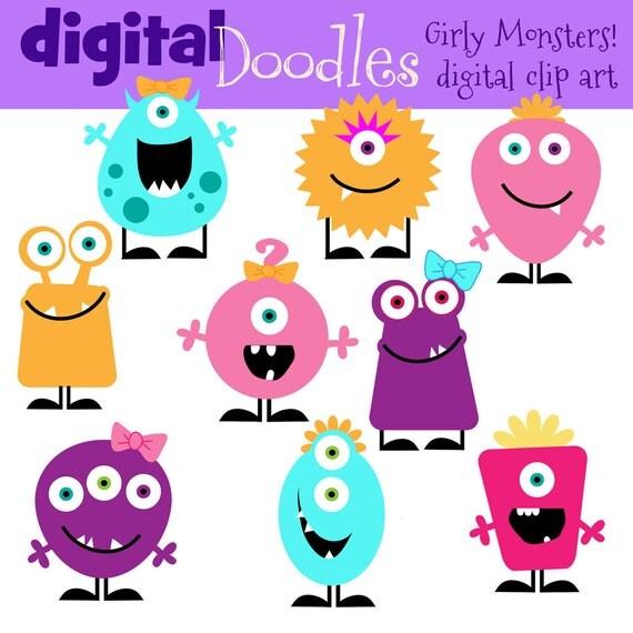 KPM girly monster clip art
