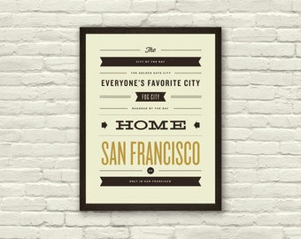 SAN FRANCISCO, City Poster - 11 x 14 Typography Art Print, Monikers and Mottos, Modern Poster, Retro Home, Nursery, Vintage, Mid Century