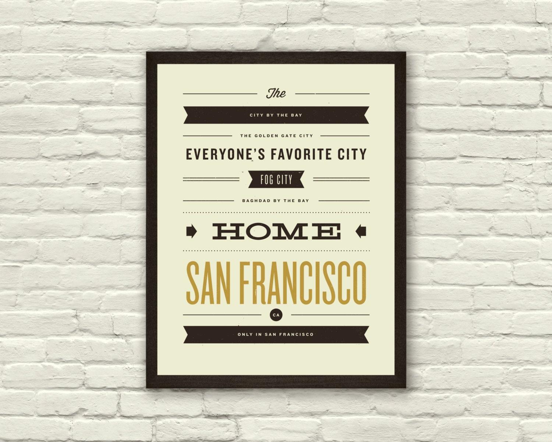 Vintage Poster Design Typography San francisco  city posterVintage Typography Poster